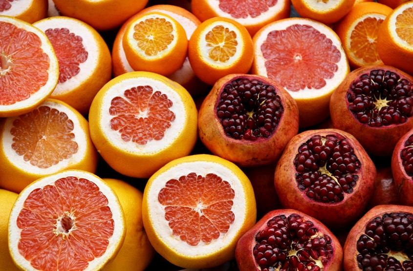 allerlei citrusvruchten voor de huid