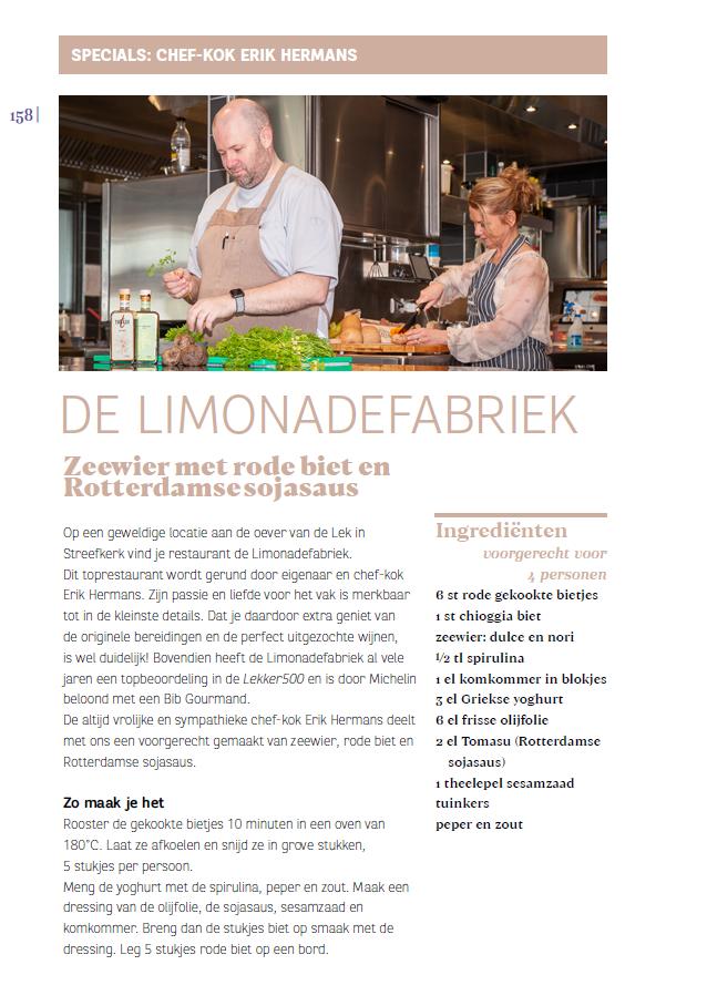 astrid samen met chef-kok Erik Hermans in de keuken