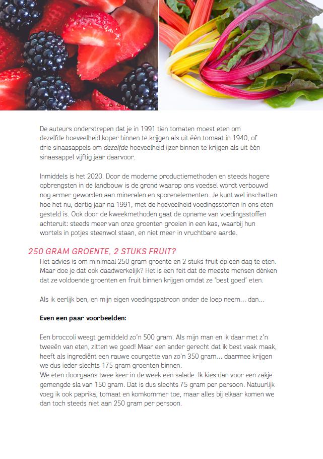 bladzijde uit het kookboek over fruit en groenten