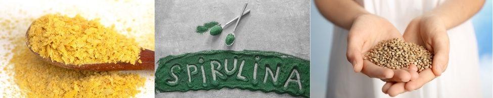 Edelgist spirulina hennepzaad zijn plantaardige bronnen van eiwitten