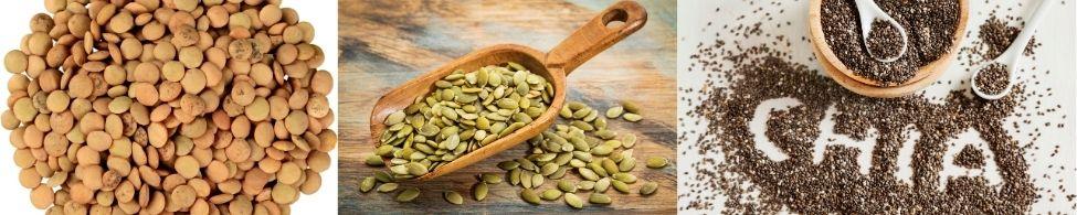 linzen pompoenpitten en chia zaad zijn voorbeelden van plantaardige eiwitten